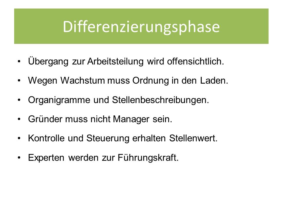 FRITZ - Entwicklungsphasen einer Organisation - Differenzierungsphase nach Friedrich Glasl