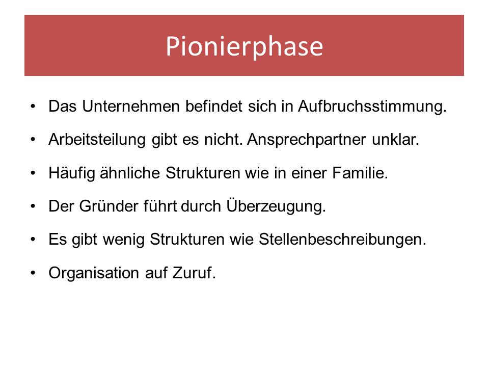 FRITZ - Entwicklungsphasen einer Organisation - Pionierphase nach Friedrich Glasl