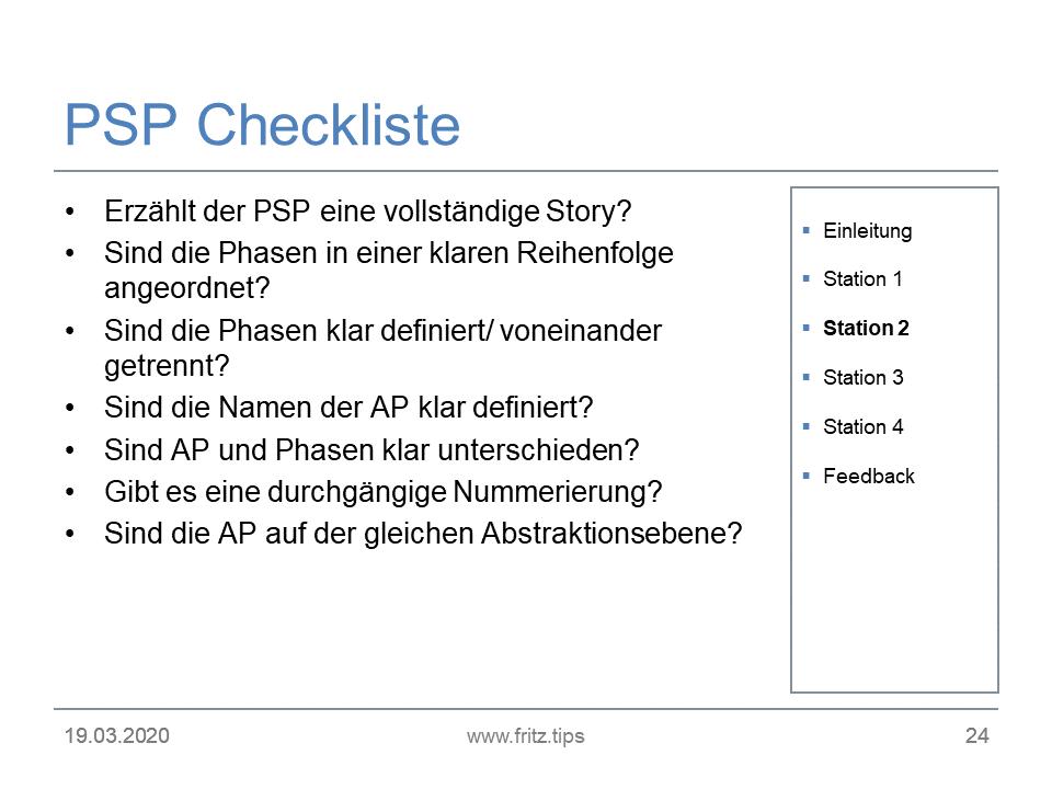 FRITZ - PSP-Checkliste