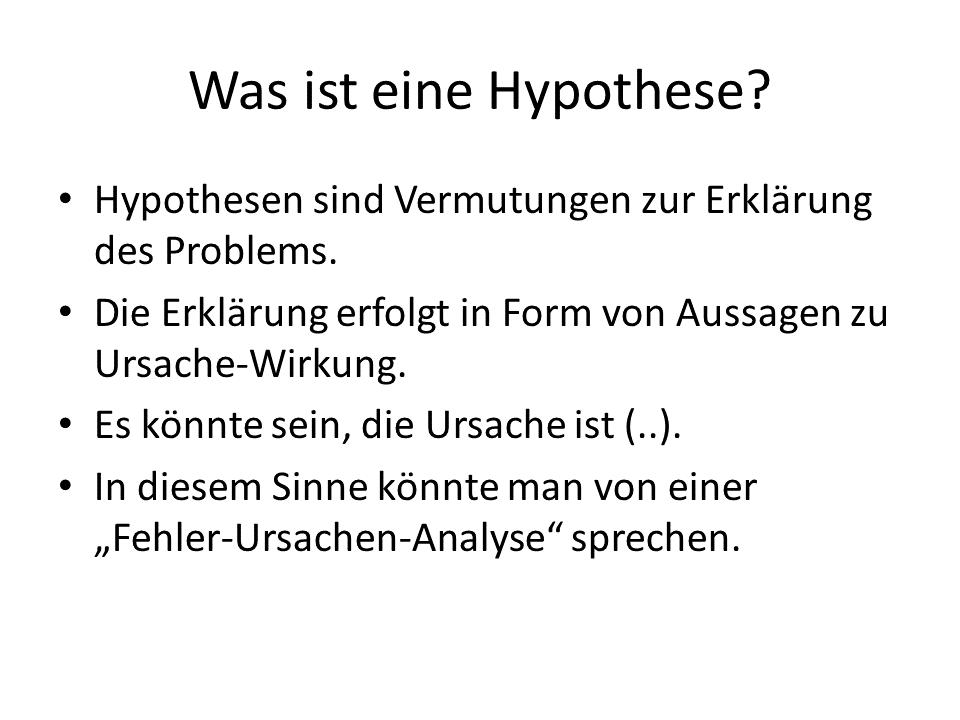 FRITZ - Problemlösung - Was ist eine Hypothese
